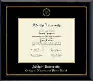 Adelphi University Diploma Frame - Gold Embossed Diploma Frame in Onyx Gold