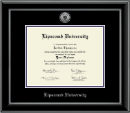 Lipscomb University Diploma Frame - Silver Engraved Medallion Diploma Frame in Onyx Silver