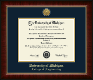 University of Michigan Diploma Frame - Gold Engraved Medallion Diploma Frame in Murano