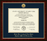SUNY Upstate Medical University Diploma Frame - Gold Engraved Medallion Diploma Frame in Murano