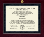 SUNY Upstate Medical University Diploma Frame - Millennium Gold Engraved Diploma Frame in Cordova