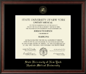 SUNY Upstate Medical University Diploma Frame - Gold Embossed Diploma Frame in Studio