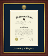 University of Virginia Diploma Frame - Gold Engraved Medallion Diploma Frame in Redding