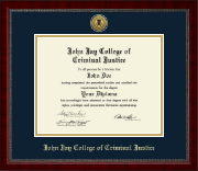 John Jay College of Criminal Justice Diploma Frame - Gold Engraved Medallion Diploma Frame in Sutton