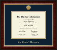 The Master's University Diploma Frame - Gold Engraved Medallion Diploma Frame in Murano