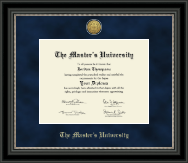 The Master's University Diploma Frame - Gold Engraved Medallion Diploma Frame in Noir
