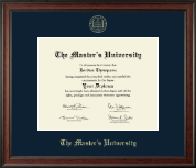 The Master's University Diploma Frame - Gold Embossed Diploma Frame in Studio