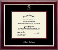 Alma College Diploma Frame - Silver Embossed Diploma Frame in Gallery Silver