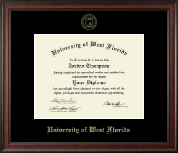 University of West Florida Diploma Frame - Gold Embossed Diploma Frame in Studio