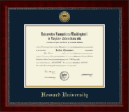 Howard University Diploma Frame - Gold Engraved Medallion Diploma Frame in Sutton