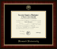 Howard University Diploma Frame - Gold Embossed Diploma Frame in Murano