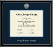 Colby-Sawyer College Diploma Frame - Silver Engraved Medallion Diploma Frame in Onexa Silver