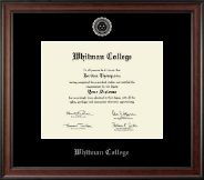 Whitman College Diploma Frame - Silver Embossed Diploma Frame in Studio
