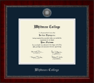 Whitman College Diploma Frame - Silver Engraved Medallion Diploma Frame in Sutton