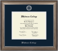 Whitman College Diploma Frame - Silver Embossed Diploma Frame in Easton