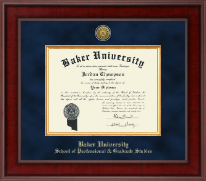 Baker University Diploma Frame - Presidential Gold Engraved Diploma Frame in Jefferson