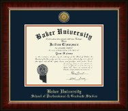 Baker University Diploma Frame - Gold Engraved Medallion Diploma Frame in Murano