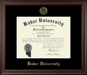 Baker University Diploma Frame - Gold Embossed Diploma Frame in Studio