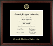 Central Michigan University Diploma Frame - Gold Embossed Diploma Frame in Studio