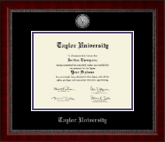 Taylor University Diploma Frame - Silver Engraved Medallion Diploma Frame in Sutton