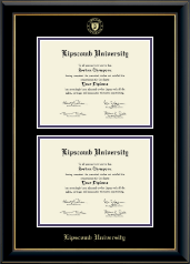 Lipscomb University Diploma Frame - Double Diploma Frame in Onyx Gold