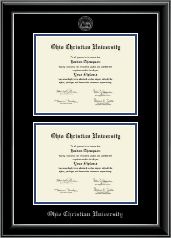 Ohio Christian University Diploma Frame - Double Diploma Frame in Onyx Silver