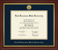 East Tennessee  State University Diploma Frame - Gold Engraved Medallion Diploma Frame in Redding