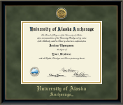 University of Alaska Anchorage Diploma Frame - Gold Engraved Diploma Frame in Onexa Gold