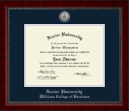 Xavier University Diploma Frame - Silver Engraved Medallion Diploma Frame in Sutton