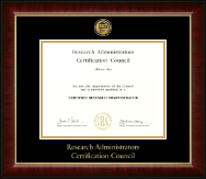 Research Administrators Certification Council Certificate Frame - Gold Engraved Medallion Certificate Frame in Murano