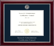 Research Administrators Certification Council Certificate Frame - Silver Engraved Medallion Certificate Frame in Gallery Silver