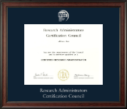 Research Administrators Certification Council Certificate Frame - Silver Embossed Certificate Frame in Studio