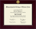 Massachusetts College of Liberal Arts Diploma Frame - Century Gold Engraved Diploma Frame in Cordova