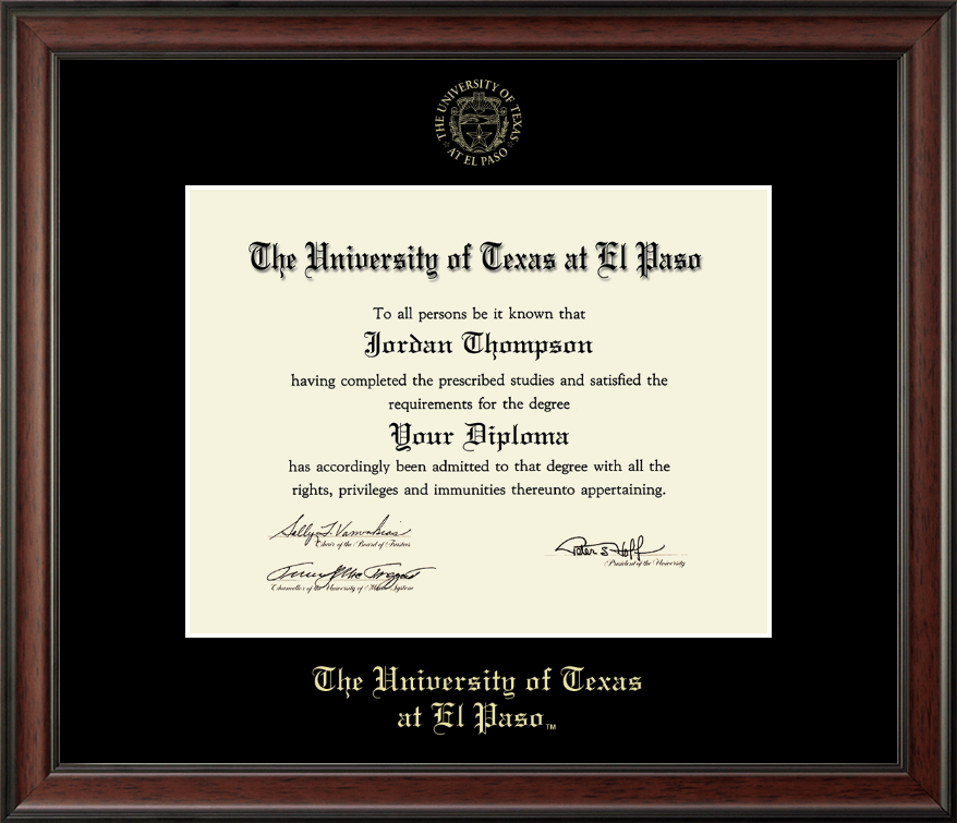 University of Texas at El Paso Gold Embossed Diploma Frame in Studio ...