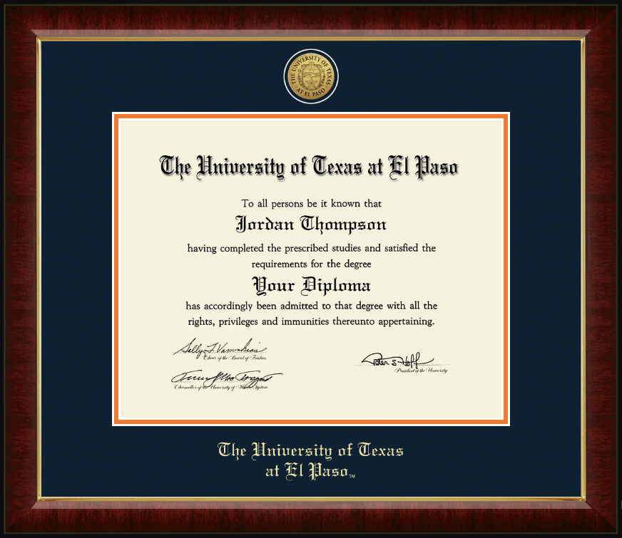 University of Texas at El Paso PhD- Gold Engraved Medallion Diploma ...