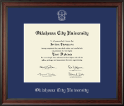 Oklahoma City University Diploma Frame - Silver Embossed Diploma Frame in Studio
