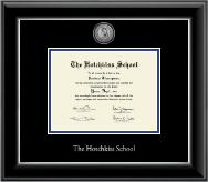The Hotchkiss School Diploma Frame - Silver Engraved Medallion Diploma Frame in Onyx Silver