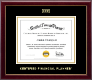 Certified Financial Planner Certificate Frame - Gold Embossed Certificate Frame in Gallery