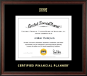 Certified Financial Planner Certificate Frame - Gold Embossed Certificate Frame in Studio