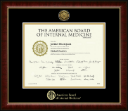 American Board of Internal Medicine Certificate Frame - Gold Engraved Medallion Certificate Frame in Murano