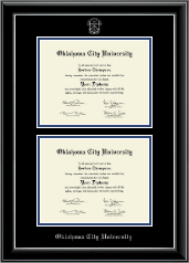 Oklahoma City University Diploma Frame - Double Diploma Frame in Onyx Silver
