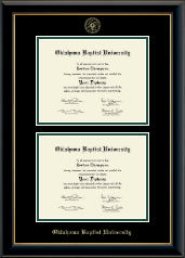 Oklahoma Baptist University Diploma Frame - Double Diploma Frame in Onyx Gold