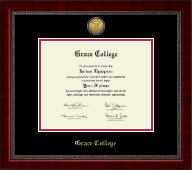 Grace College Diploma Frame - Gold Engraved Medallion Diploma Frame in Sutton