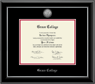 Grace College Diploma Frame - Silver Engraved Medallion Diploma Frame in Onyx Silver