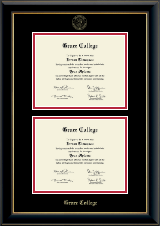 Grace College Diploma Frame - Double Diploma Frame in Onyx Gold