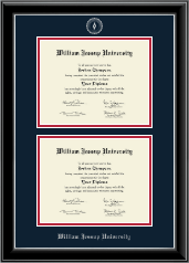 William Jessup University Diploma Frame - Double Diploma Frame in Onyx Silver