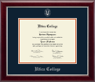 Utica College Diploma Frame - Silver Embossed Diploma Frame in Gallery Silver