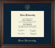 Drew University Diploma Frame - Gold Embossed Diploma Frame in Studio