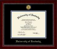 University of Kentucky Diploma Frame - Gold Engraved Medallion Diploma Frame in Sutton