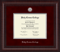 Holy Cross College Diploma Frame - Presidential Silver Engraved Diploma Frame in Premier